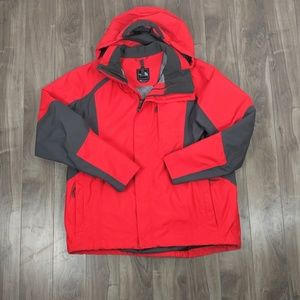 Men's North Face XL Jacket Red Gray Shell